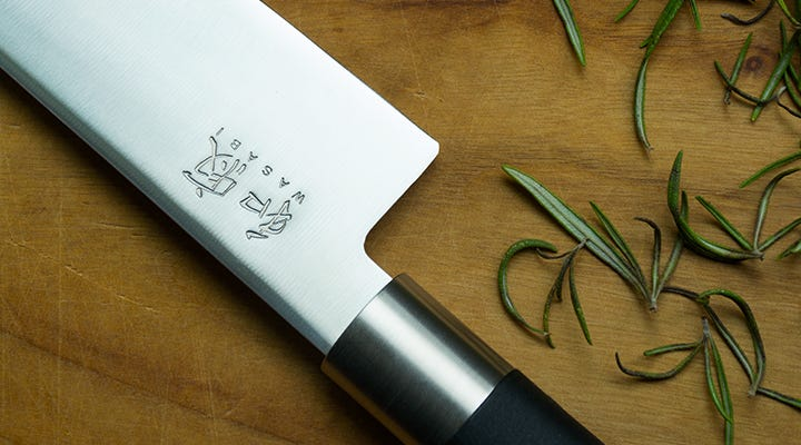 Kai Wasabi blade and handle with rosemary